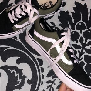 customized army green and black vans
